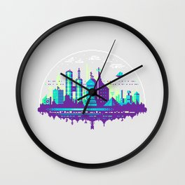 Futuristic City Pixel Art Wall Clock
