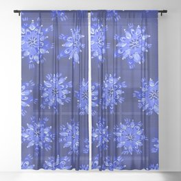Blue Autumn Glory Sheer Curtain