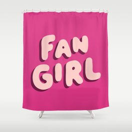Fangirl in Pink Shower Curtain