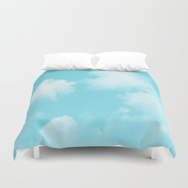 Aqua Blue Clouds Duvet Cover