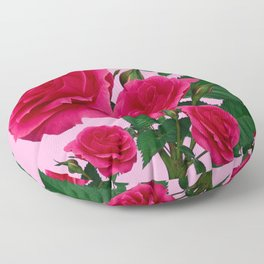 DECORATIVE RED GARDEN ROSES PINK ART Floor Pillow