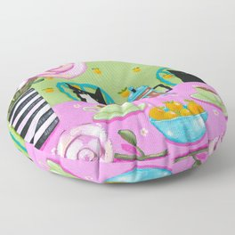 French Press Coffee Cats Floor Pillow