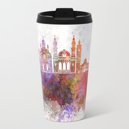 Algiers skyline in watercolor background Travel Mug