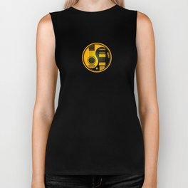 Yellow and Black Acoustic Electric Yin Yang Guitars Biker Tank