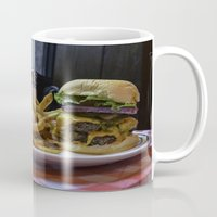 fries Mugs featuring Burger & Fries by OneMan Photography
