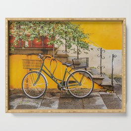 Bicycle Parked at Wall, Lucca, Italy Serving Tray