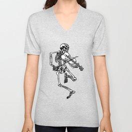 Skeleton Playing Violin Unisex V-Neck