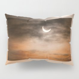 Partial solar eclipse and clouds morning sky Pillow Sham