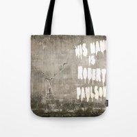sarah paulson Tote Bags featuring HIS NAME IS ROBERT PAULSON. by SoNearlyOriginal