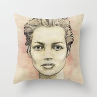 kate moss Throw Pillows featuring Kate Moss by Matthäus Rojek