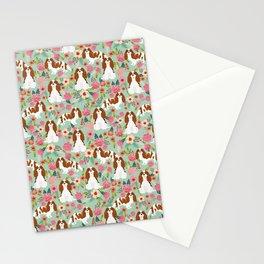 Blenheim Cavalier King Charles Spaniel dog breed florals pattern Stationery Cards