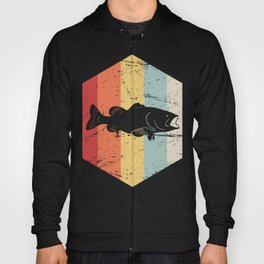 Retro Vintage Bass Fishing Icon Hoody