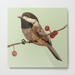 Black Capped Chickadee Metal Print