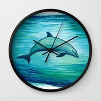 psychadelic Wall Clocks featuring Indigo Lagoon ~ Dolphin Watercolor by Amber Marine