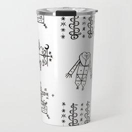 Papa Legba + Baron Samedi + Gran Bwa + Damballah-Wedo Voodoo Veve Symbols in White Travel Mug