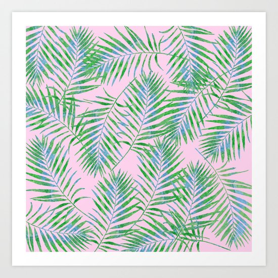 Fern Leaves Pink Art Print