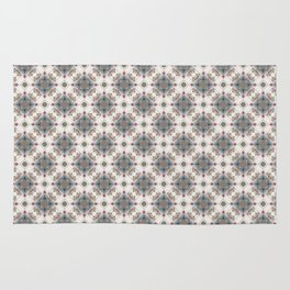 Brown and Blue Geometric - Squares and Circles Rug
