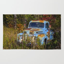 Old Blue Ford Truck Rug