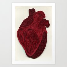 paper filigree human heart Art Print