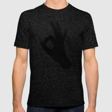 A-Okay SMALL Tri-Black Mens Fitted Tee