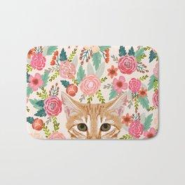 Orange Tabby floral cat head cute pet portrait gifts for orange tabby cat must haves Bath Mat
