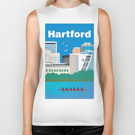 Hartford, Connecticut - Skyline Illustration by Loose Petals Biker Tank