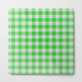 Lime Green Buffalo Plaid Metal Print