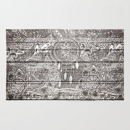 Boho white rustic dreamcatcher floral doodles brown striped wood Rug
