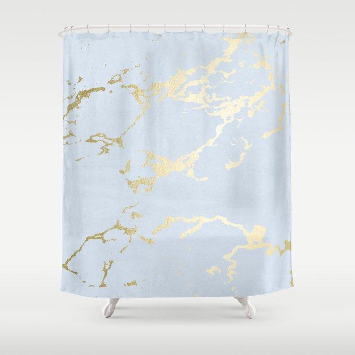 Kintsugi Ceramic Gold On Sky Blue Shower Curtain By Followmeinstead