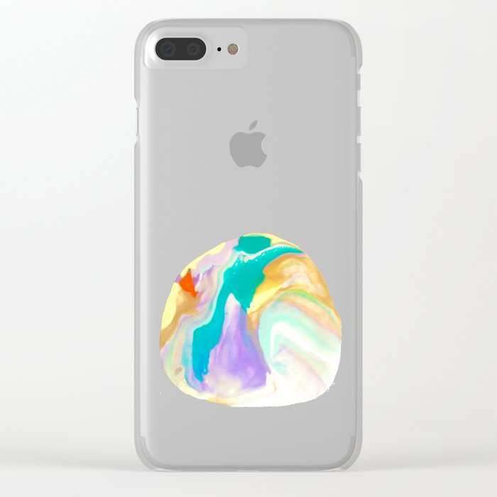 Deep Sea Colorful Surprises Marbling Clear iPhone Case