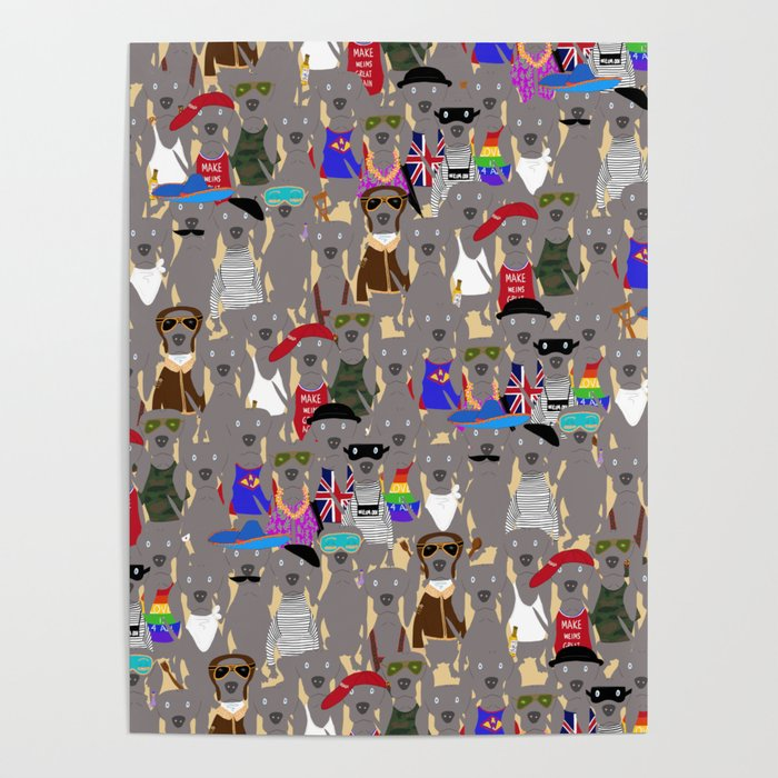 Big Dog Weim Nation Grey Ghost Weimaraner Hand-painted Pet Pattern on Khaki Poster