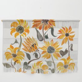 Sunflower Watercolor – Yellow & Black Palette Wall Hanging