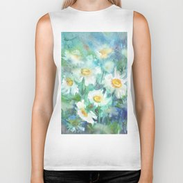 watercolor drawing - white daisies on a blue and green background, beautiful bouquet, painting Biker Tank