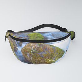 Mossy Rock Falls Montana Whitewater Woodlands Waterfall Green Moss Fanny Pack