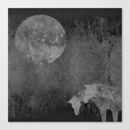 Moon with Horses in Grays Canvas Print