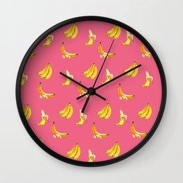 Banana pink coctail Wall Clock