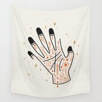 tattoos Wall Tapestries featuring Sleight of Hand by LordofMasks