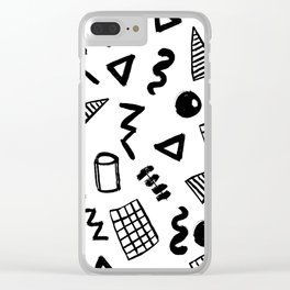 Black and white shapes minimal linocut pattern graphic scandi design Clear iPhone Case