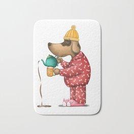 Sleepy Doggie Illustration Bath Mat