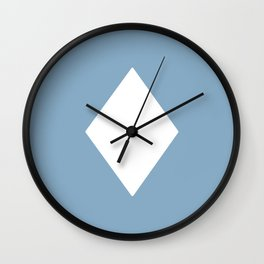 white rhombus on placid blue color background Wall Clock