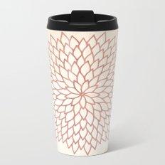 Mandala Flower Rose Gold on Cream Metal Travel Mug