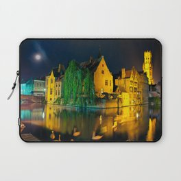 Rozenhoedkaai and canals in Brugge, Belgium Laptop Sleeve