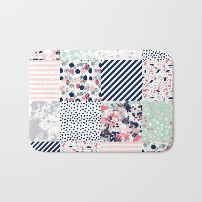 Patchwork quilt cheater quilt pattern gender neutral nursery baby decor Bath Mat