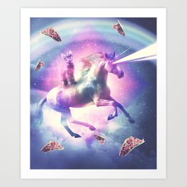 Space Cat Riding Unicorn - Laser, Tacos And Rainbow Art Print