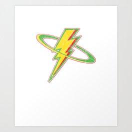 Awesome Distressed Vintage Lightning Thunder Bolt Art Print
