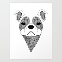 bulldog Art Prints featuring Bulldog  by Art & Be