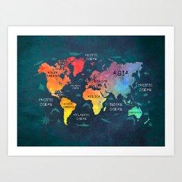 world map 49 color Art Print