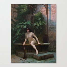 Truth Coming Out of Her Well Painting by Jean-Léon Gérôme Canvas Print