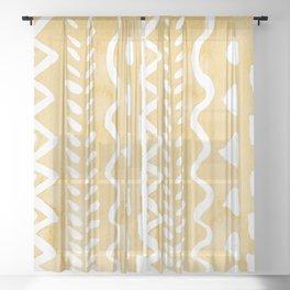 Loose bohemian pattern - yellow Sheer Curtain