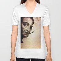salvador dali V-neck T-shirts featuring salvador dali zombie by Joedunnz